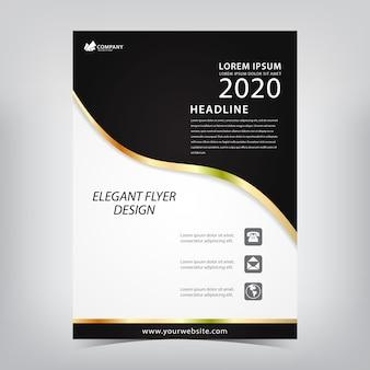 Elegante flyer met zwarte motieven en gouden lijnen