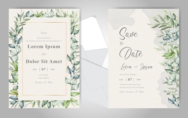 Elegante gebladerte bruiloft uitnodiging kaartsjabloon met aquarel romige splash