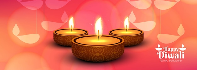 Elegante gelukkige diwali kleurrijke banner vector
