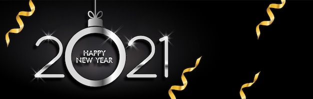 Elegante gelukkige nieuwe jaar 2021 decoratie op zwarte achtergrond