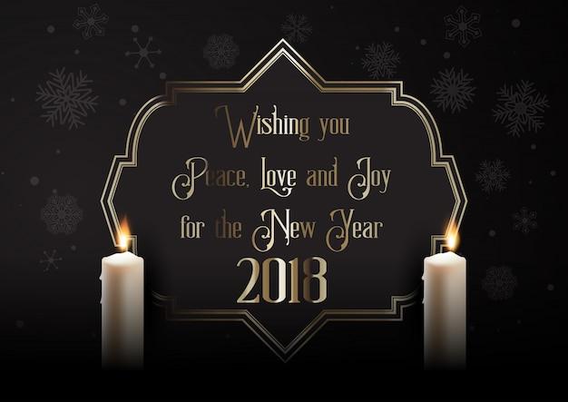 Elegante gelukkige nieuwjaarachtergrond met kaarsen