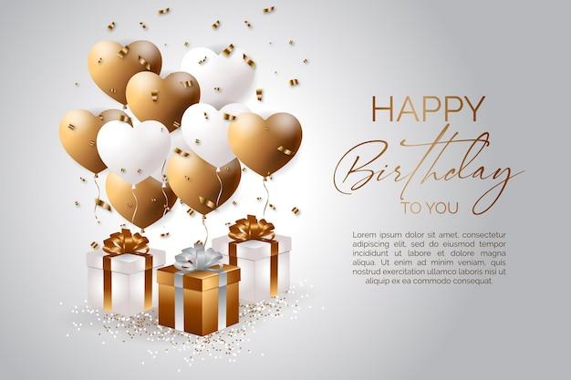 Elegante gelukkige verjaardagsachtergrond met de vector van een realistische geschenkdoos