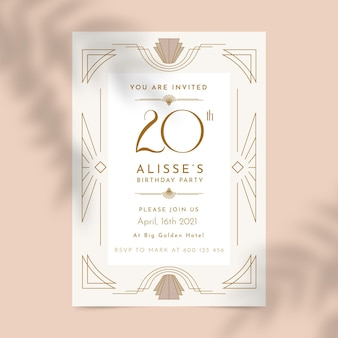 Elegante geometrische 20's thema verjaardagsuitnodiging