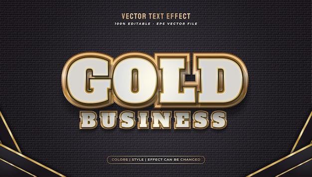 Elegante gewaagde witte en gouden tekststijl met realistisch en glanzend effect