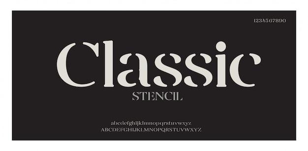 Elegante geweldige alfabet letters lettertype en nummer. klassieke belettering minimale modeontwerpen. typografische lettertypen hebben hoofdletters en kleine letters. vectorillustratie