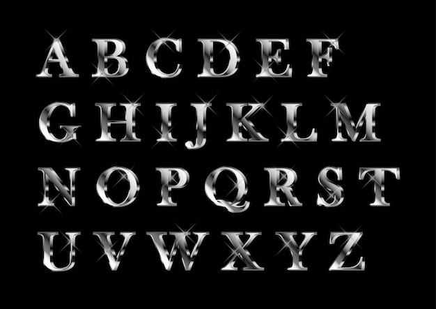Elegante glanzende zilveren platnium alfabetten set