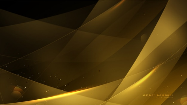 Elegante gouden achtergrond met bokeh en glanzend licht.