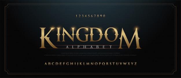 Elegante gouden alfabet letters lettertype set. klassiek aangepast goud