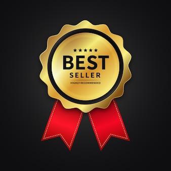 Elegante gouden bestseller award-badge met lintontwerp kwaliteitslabelteken en symboolsjabloon