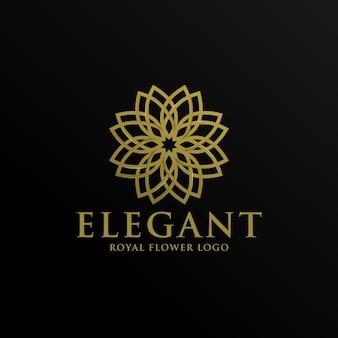 Elegante gouden bloemen logo sjabloon