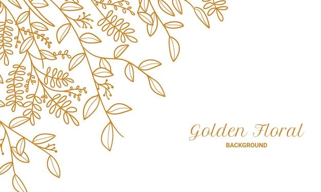 Elegante gouden bloemen planten laat hand getrokken afbeelding achtergrond