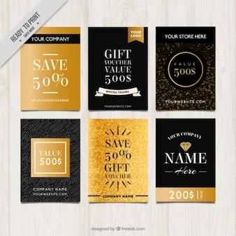 Elegante gouden cadeaubon collectie