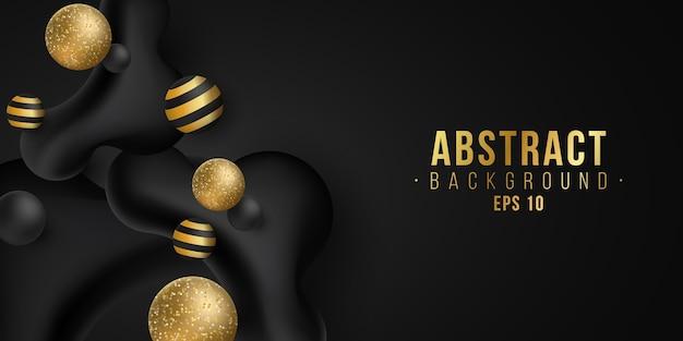 Elegante gouden en zwarte dynamische vloeibare glinsterende vormen. trendy achtergrond. vector. eps 10