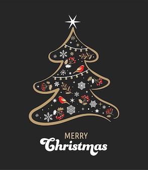 Elegante gouden en zwarte kerstboom met xmas-elementen.