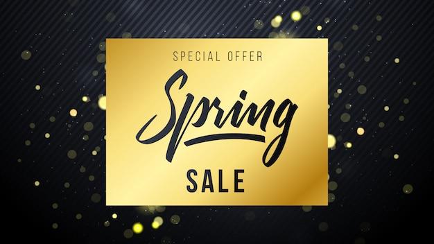 Elegante gouden lente verkoop achtergrond