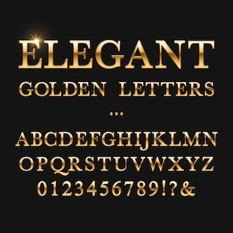 Elegante gouden letters. glanzend gouden vectoralfabet. lettertype gouden metaal, abc en getallen gele illustratie
