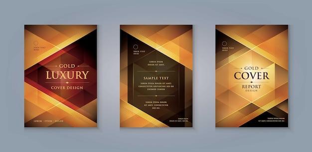 Elegante gouden menu omslag ontwerpsjabloon luxe uitnodigingskaart ontwerp abstracte gouden driehoek