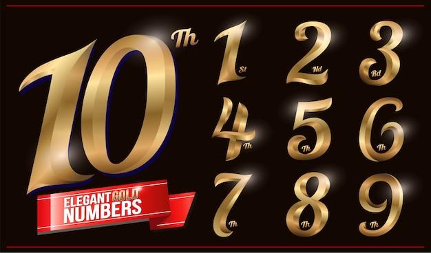 Elegante goudkleurige metalen chrome-nummers. 1, 2, 3, 4, 5, 6, 7, 8, 9, 10, logo