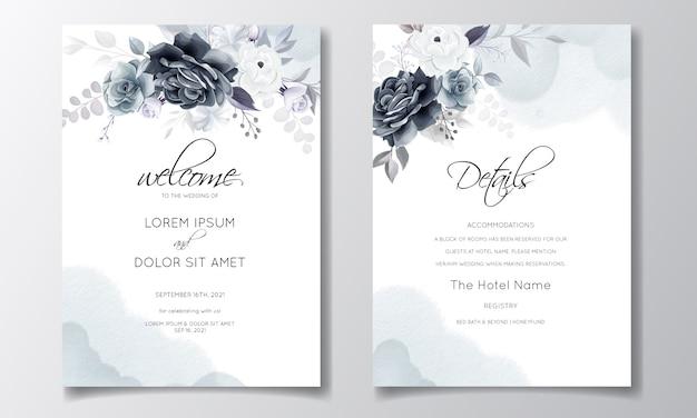 Elegante grijze bloemen bruiloft uitnodiging kaartsjabloon met zilveren bladeren en aquarel frame
