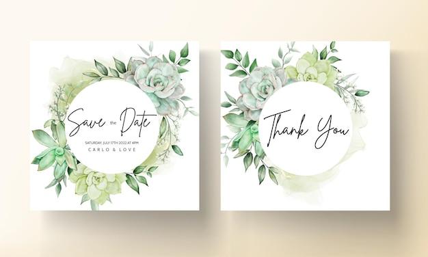 Elegante groen aquarel bloemen bruiloft uitnodigingskaart