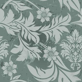 Elegante groene bloemenachtergrond met grungy tekens