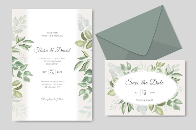 Elegante groene bruiloft uitnodigingssjabloon