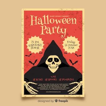 Elegante halloween-partijaffiche met uitstekende stijl