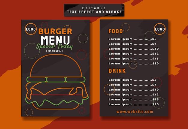 Elegante hamburger restaurant menusjabloon