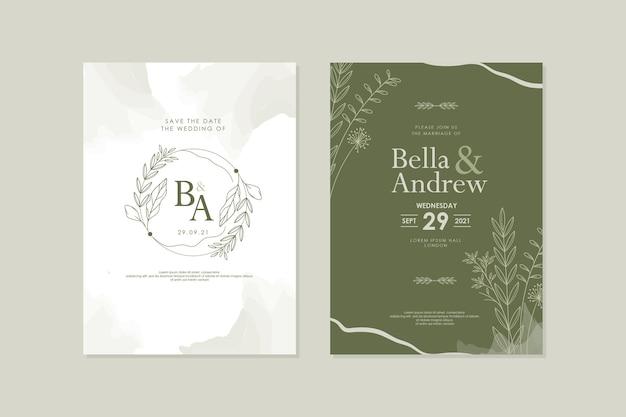 Elegante hand getekende bloemen groene aquarel huwelijk uitnodiging sjabloon