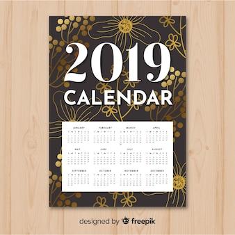 Elegante hand getrokken bloemen 2019 kalender