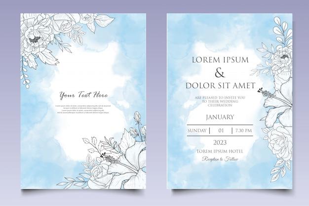 Elegante hand getrokken bloemen bruiloft uitnodiging sjabloon