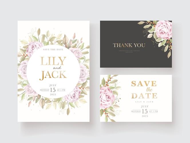 Elegante hand getrokken bloemen uitnodigingskaartenset