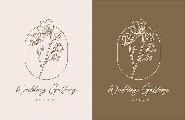 Elegante hand getrokken bloemenlogo premium ontwerpsjabloon