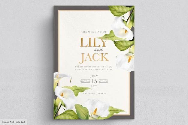 Elegante hand getrokken lelie uitnodigingskaart