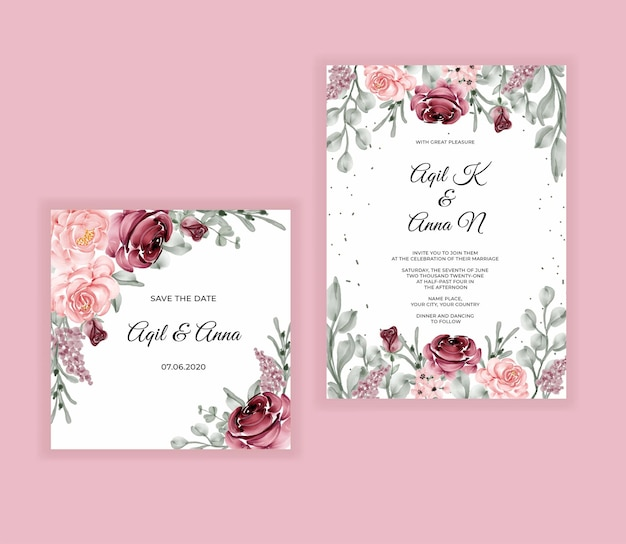 Elegante hand tekenen bruiloft uitnodiging aquarel bloemen