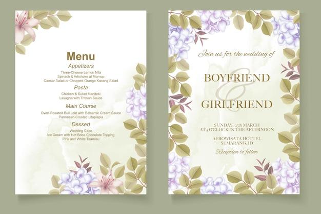 Elegante hand tekenen bruiloft uitnodiging bloemdessin