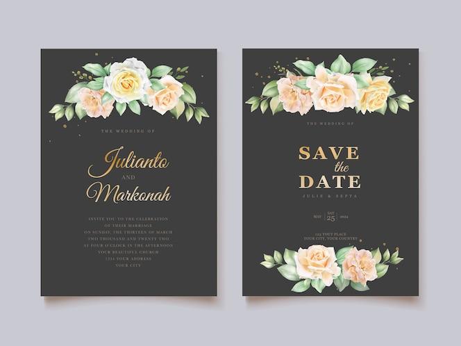 Elegante hand tekenen bruiloft uitnodiging bloemen