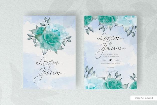 Elegante hand tekenen bruiloft uitnodiging sjabloon met bloem en bladeren ontwerp