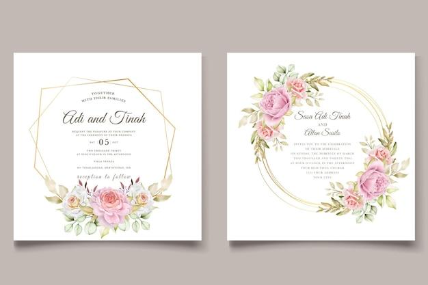 Elegante handgetekende aquarel bloemen zomer uitnodigingskaart