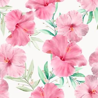 Elegante handgetekende bloemen en bladeren naadloos patroon