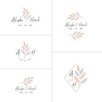 Elegante handgetekende monogram bruiloft logo sjabloon