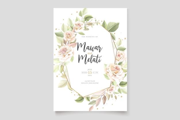 Elegante handgetekende rozen uitnodigingskaart