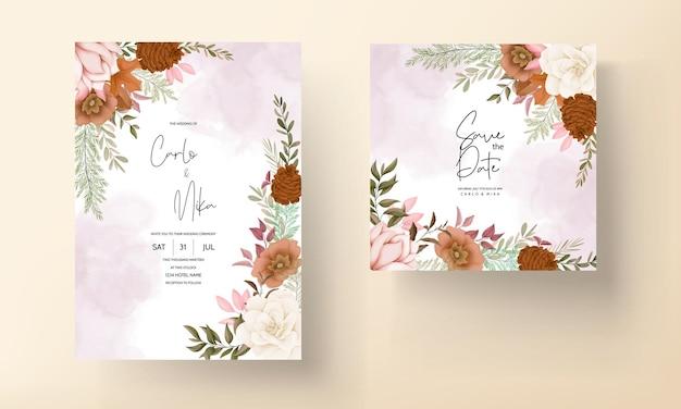 Elegante handgetekende zoete bloemen bruiloft uitnodigingskaart