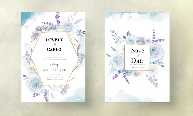 Elegante handtekening ijsblauwe bloemen bruiloft uitnodigingskaart