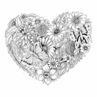 Elegante hart bloemen schets