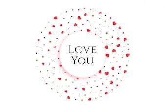 Elegante harten in ronde vorm met boodschap hou van je