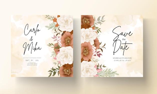 Elegante herfst bloemen bruiloft uitnodigingskaart met roos en dennen bloem