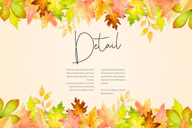 Elegante herfst bruiloft uitnodiging kaartsjabloon