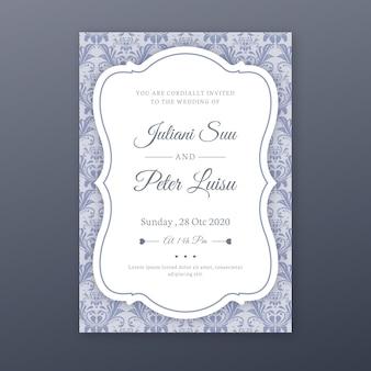 Elegante het huwelijksuitnodiging van de damastsjabloon
