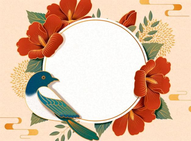 Elegante hibiscus en ekster op papierkunstachtergrond, ronde plaatkopieruimte voor ontwerpgebruik